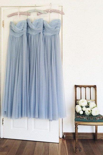 Ligh Blue Elegant Floor Length Prom Dresses,Simple Chiffon Bridesmaid Dresses