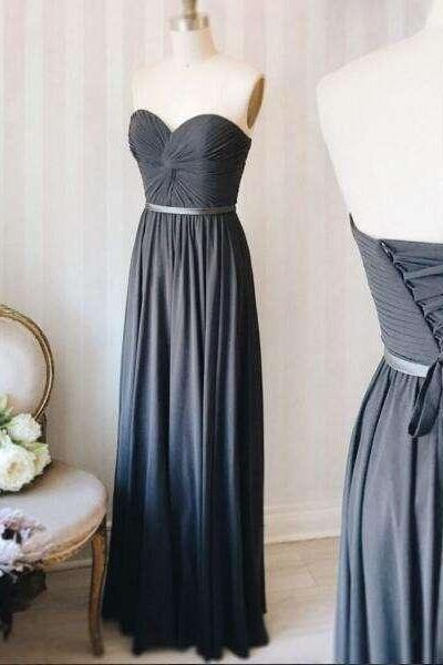 Light Slate Gray Sweetheart Sleeveless Long Bridesmaid Dress