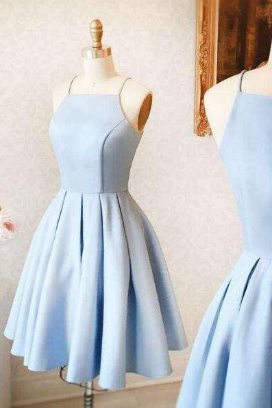 Light Blue Short A Line Satin Prom Dress with Straps