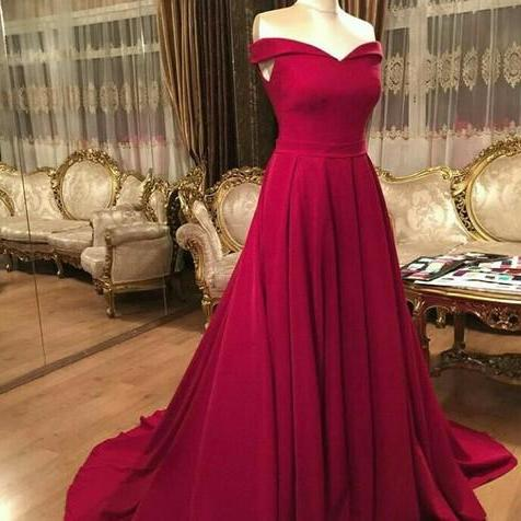 Red Sweetheart Long Formal Dress,Off the Shoulder Sweep Train Prom Dress,Simple Formal Dress