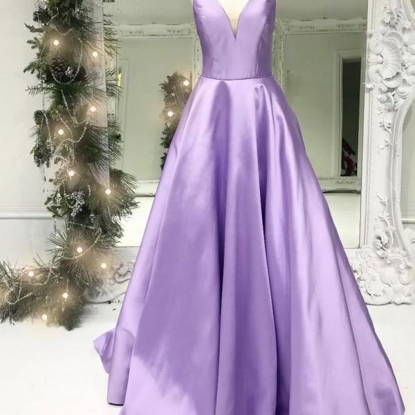 Charming Lilac Satin V-Neck Long Prom Dress,Lilac Evening Dress