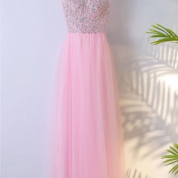 Cheap A-Line Pink Sleeveless Tulle Prom Dress with Beaded Sequins,Cute Bling Evening Dress