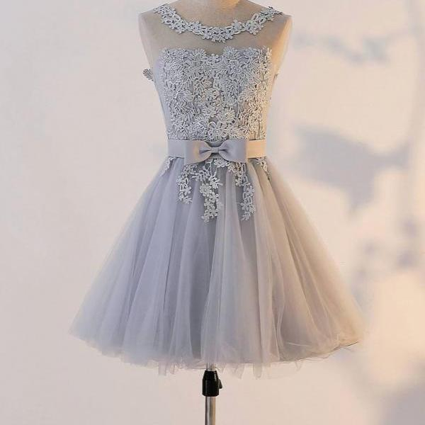 Cute Gray Round Neck Applique Homecoming Dress,Tulle Bridesmaid Dress