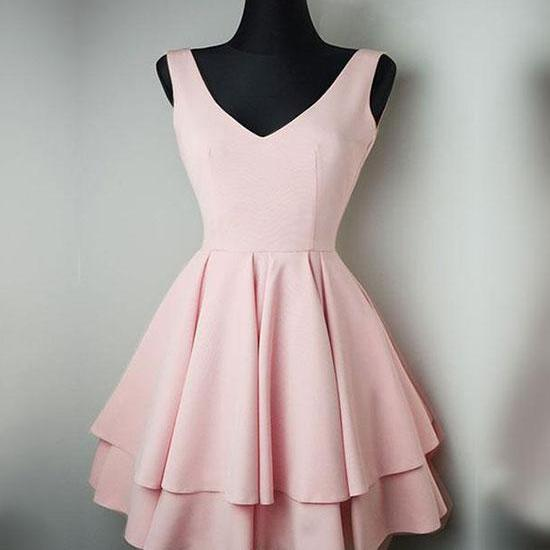 Cute Pink V-Neck Homecoming Dress,Short Prom Dress