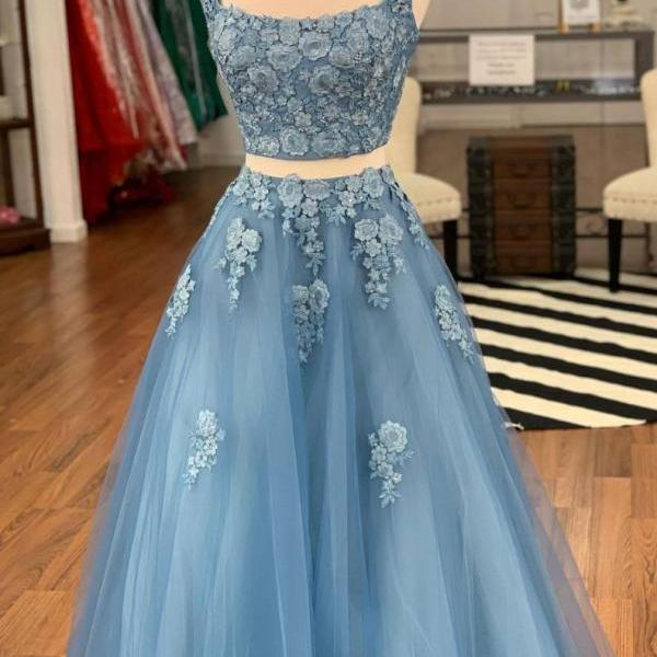 Blue two pieces straps lace prom dress,tulle evening dress