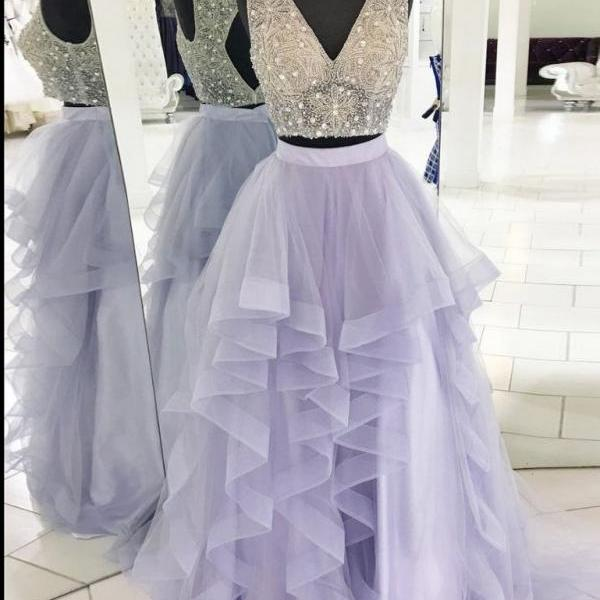 A-Line Two Pieces Beaded Bodice Lavender Prom Dress,Ruffles Skirt V-Neck Long Evening Dress