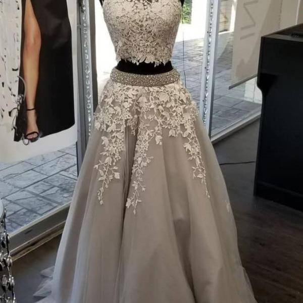 High Neck Two Pieces Prom Dresses with Appliques Beading,Gray Tulle Evening Dresses,Homecoming Dresses