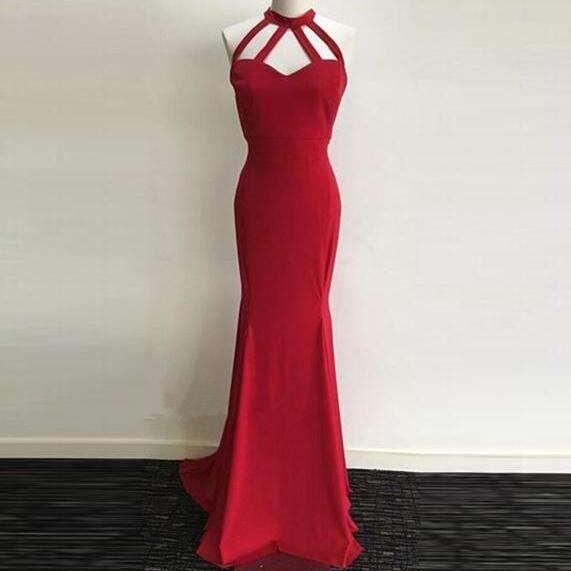 Red Halter Prom Dress,Backless Sheath Evening Gown,Prom Dress With Straps,Long Evening Dress