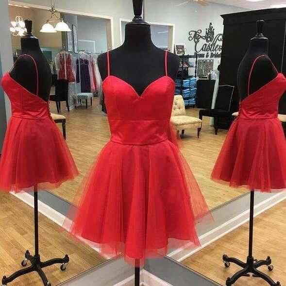 Sweetheart Red Cocktail Dress,Short Party Dress with Spaghetti Straps,Cute A Line Prom Dress