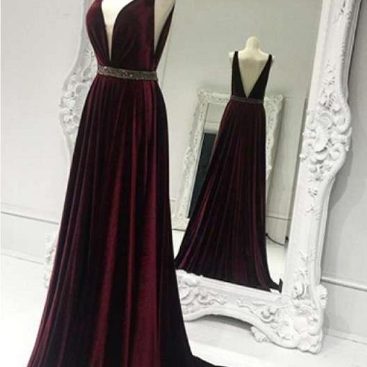 A Line Burgundy V Neck Waist Beaded Long Prom Dresses,2017 New Arrival V Back Evening Dresses